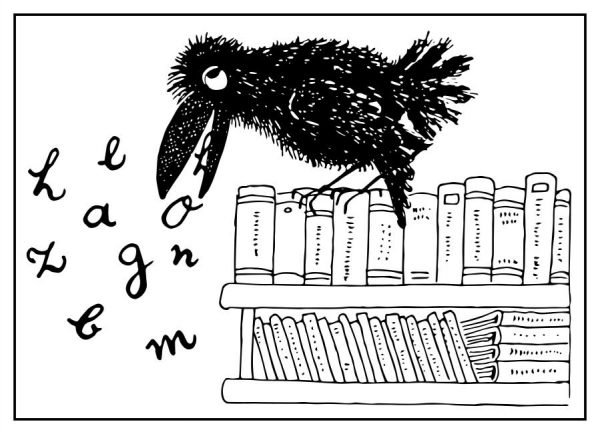 Vogel Rabe mit Buch