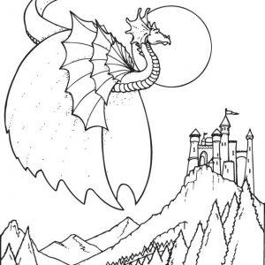 Fantasy Drache und Burg