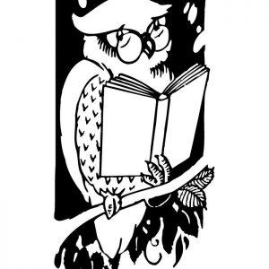 Stempel Eule mit Buch