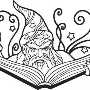 Magier Zauberer mit Buch